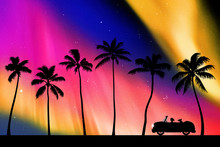 Retro Car On Palm Beach At Night. Vector Illustration With Silhouettes Of Woman And Dog Traveling In Camper. Family Road Trip. Northern Lights In Starry Sky. Colorful Aurora Borealis