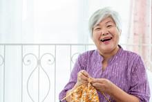 Happy Senior Woman Female Knit...