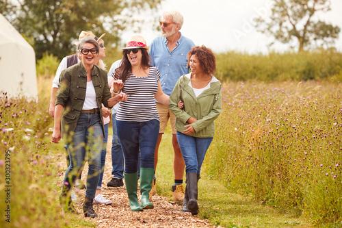 Obraz Group Of Mature Friends Walking Along Path Through Yurt Campsite - fototapety do salonu