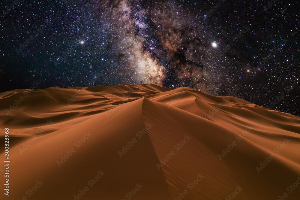 Fototapety, obrazy: Amazing views of the Sahara desert under the night starry sky.