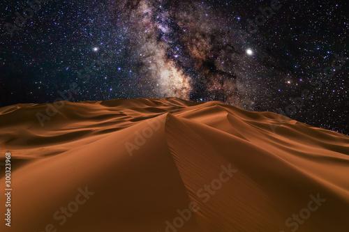 Obraz Amazing views of the Sahara desert under the night starry sky. - fototapety do salonu
