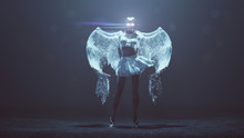 Supernatural Being Angel With Wings In A Foggy Void With Glowing Eyes And Lens Flare 3d Illustration 3d Render