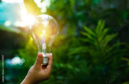 Papel de parede hand holding light bulb against nature, icons energy sources for renewable,
