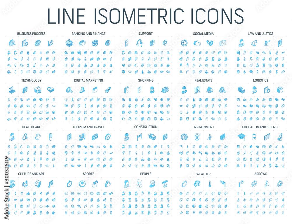 Vector illustration of isometric line icons for business, bank, social media market, logistics, internet technology, shop, education, sport, healthcare, art and construction. Blue 3d web symbols set. <span>plik: #300325119 | autor: Hilch</span>