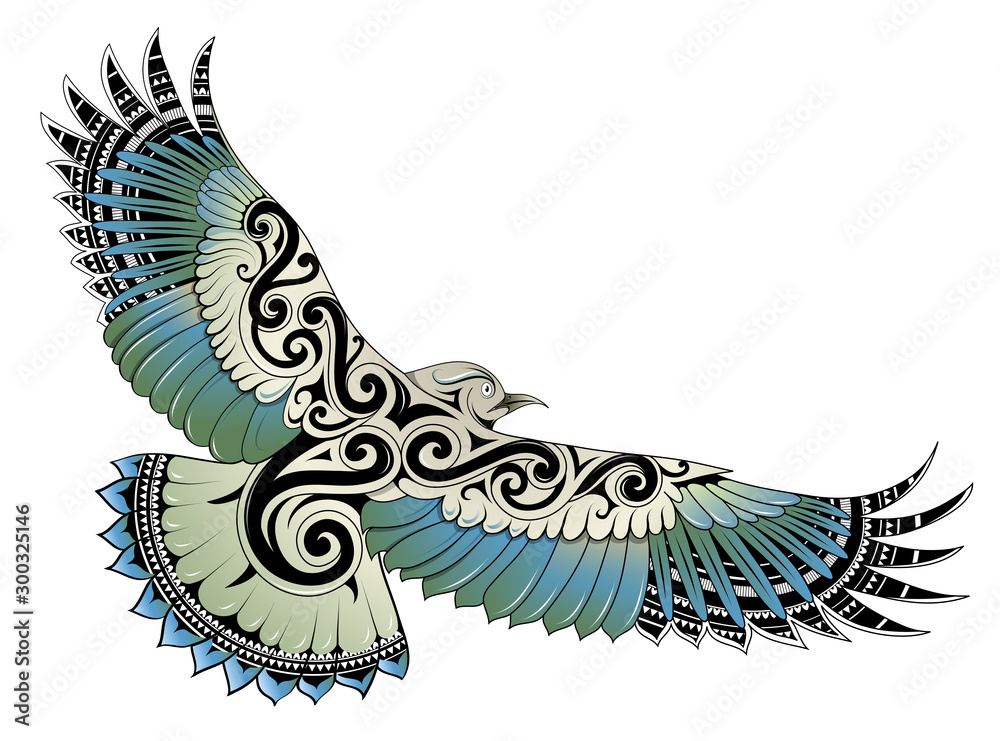 Fototapeta Polynesian style bird tattoo
