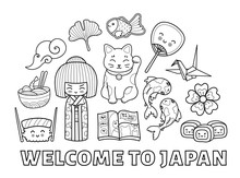 Welcome To Japan. Graphic Outline Famous Symbols. Vector Illustration For Coloring Book.