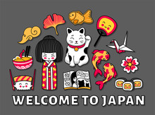 Travel To Japan. Cute Cartoon ...