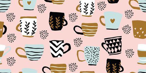 Seamless pattern with cups of coffee, scandinavian