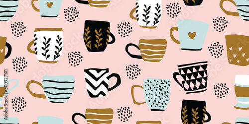 Türaufkleber Künstlich Seamless pattern with cups of coffee, scandinavian