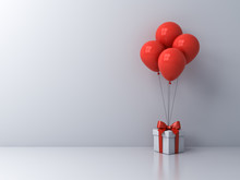 White Present Box Or Gift Box With Red Balloons Isolated On White Room Background With Blank Space On The Left 3D Rendering