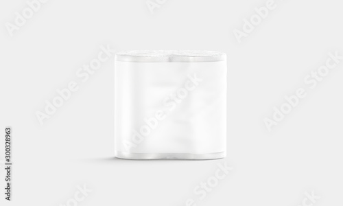 Photo Blank white paper towel pack with label mockup, front view