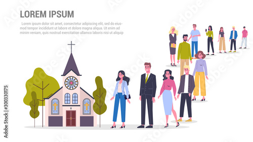 Fotomural Vector illustration of big queue of people standing towards a church