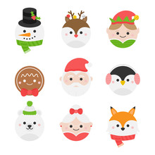 Cute Christmas Round Characters Vector Illustration Collection. Winter, Seasonal, Holiday, Festive Xmas Heads. Isolated Cartoon Graphic Icons.