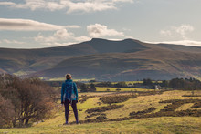 Looking At The View Of The Brecon Beacons National Park While Hiking. November 2019.
