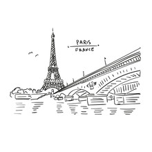Eiffel Tower In Paris, France. Bridge And Water. Hand Drawing In Retro Style. Travel Sketch. Hand Drawn  Postcard, Poster Or Illustration In Vector