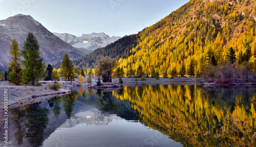 Foto op Plexiglas Herfst Autumn landscape with reflection in a lake in the alpine mountainsю