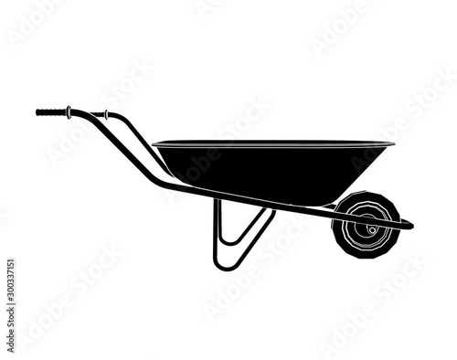 Fotografía  outlined handbarrow carriage for soil on white background 3d illustration