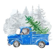 Winter Christmas Illustration With Hand Painted Abstract Pick Up Truck, For Tree And Pine Forest Landscape Texture. Vintage Blue Car And Falling Snow. Cheerful New Year Card Template.