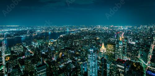 Fototapeta Aerial view of New York Manhattan at night obraz