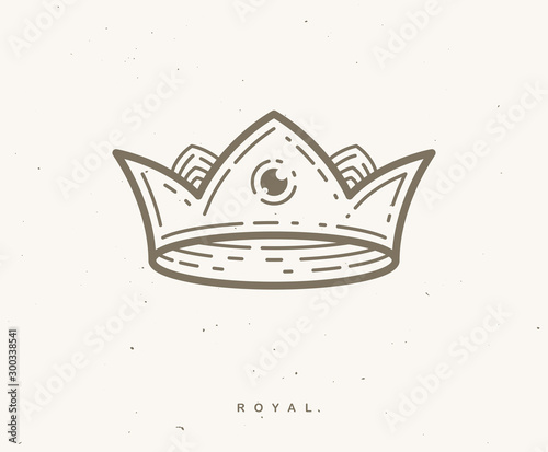 Crown simple vector linear design for logo or icon. Fototapete