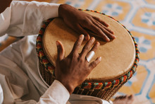 Djembe Playing In Morocco, Africa.