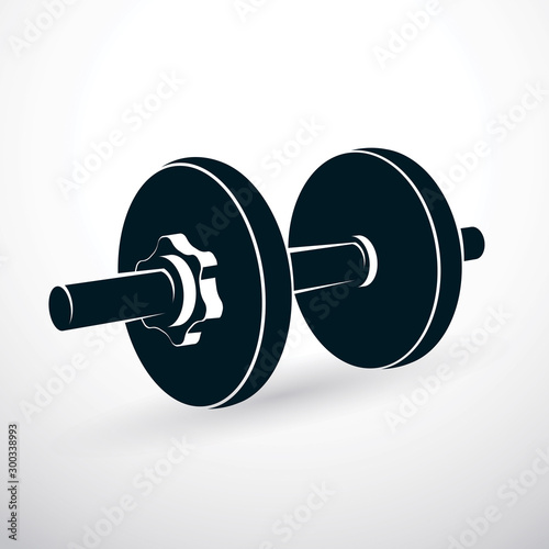 Fotografia Dumbbell vector illustration isolated on white composed with disc weight