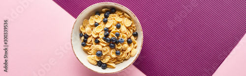top view of bowl with breakfast cereal and blueberry on purple and pink backgrou Fototapet