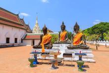Buddha Statues Near Relic Pagoda Stupa At Wat Phra Borommathat Chaiya Worawihan, Surat Thani