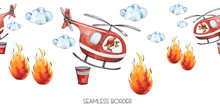 Watercolor Cartoon Cute Seamless Border Firefighting And Fire Safety Equipment Illustration. Fire Helicopter, Dog, Helmet, Hose, Column, Fire Extinguisher. Baby Shower Red Colorful Clip Art