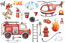 Watercolor Cartoon Cute Set Firefighting And Fire Safety Equipment Illustration. Fire Truck, Helicopter, Dog, Helmet, Hose, Column, Fire Extinguisher. Baby Shower Red Colorful Clip Art