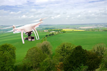Drone Flying Over The South Downs In Hampshire, UK