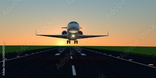 Luxury business jet during landing or takeoff on runway Canvas Print