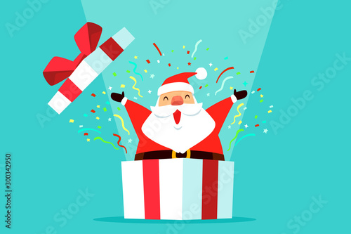 santa claus come out of gift box with confetti - 300342950