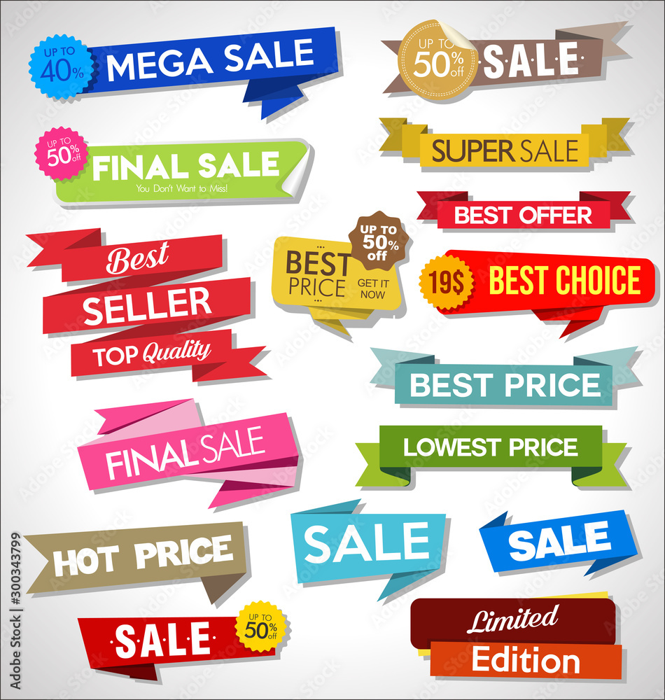 Fototapeta Collection of colorful sale stickers and tags