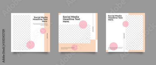 Fotografia  Modern promotion square web banner for social media mobile apps