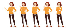 Casual Business Woman In Different Poses With Red Hair Isolated Vector Illustrtion