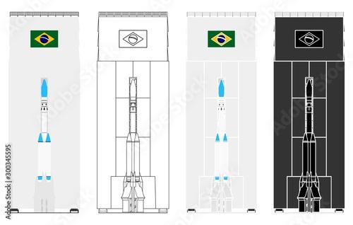 Photo Brazilian rocket project. Alcantara Base. Front side.
