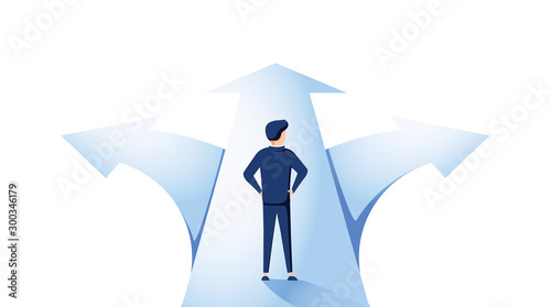 Businessman standing on a crossroad and choosing direction Wallpaper Mural