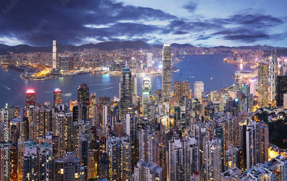 Fototapeta Hong Kong skyline at night from Victoria peak