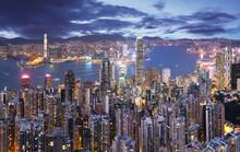 Hong Kong Skyline At Night Fro...