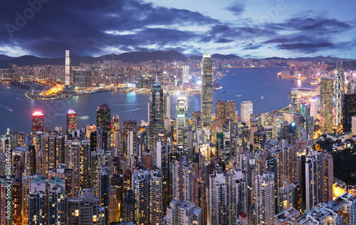 Hong Kong skyline at night from Victoria peak Wallpaper Mural