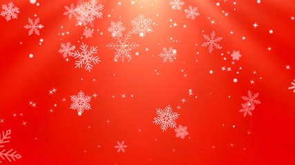 White snowflakes, stars and abstract bokeh particles falling
