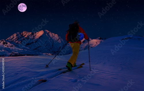 Scenic night backcountry ski panorama sunset landscape of Crans-Montana range in Swiss Alps mountains with peak in background, Verbier, Switzerland Wallpaper Mural