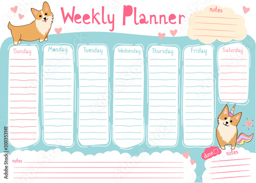 weekly planner with cute corgi dog cartoon style  kids schedule design template