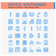 Office Stationery Icons Set. UI Pixel Perfect Well-crafted Vector Thin Line Icons. The illustrations are a vector.