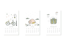 Cute Design For Calendar 2020, Summer Months With Bicycle . Week Starts On Sunday. Vertical Editable Calender Page Template Can Be Used For Web, Banner, Poster And Printable Graphic