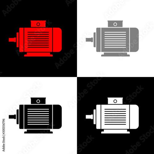 Photo Electric motor icon set, vector illustration