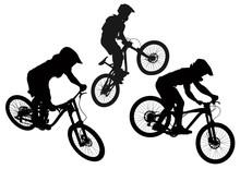 Set Of Mountain Bike Cyclists Silhouettes