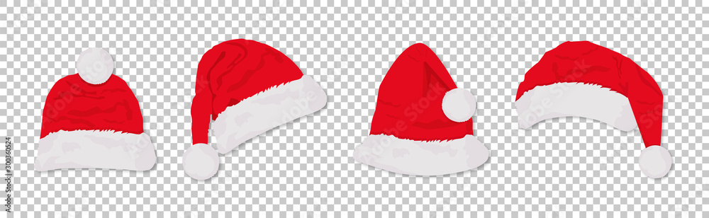 Fototapeta Santa hats red colored set. Winter cap. Vector