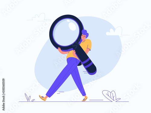 Young man carrying heavy magnifier Wallpaper Mural